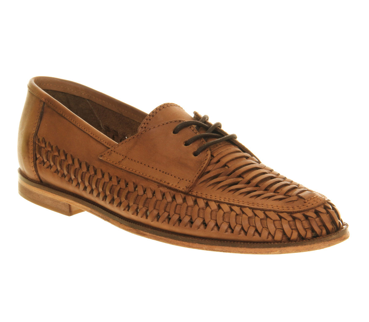 Image Is Loading Mens Office Newington Weave Lace Up Tan Washed