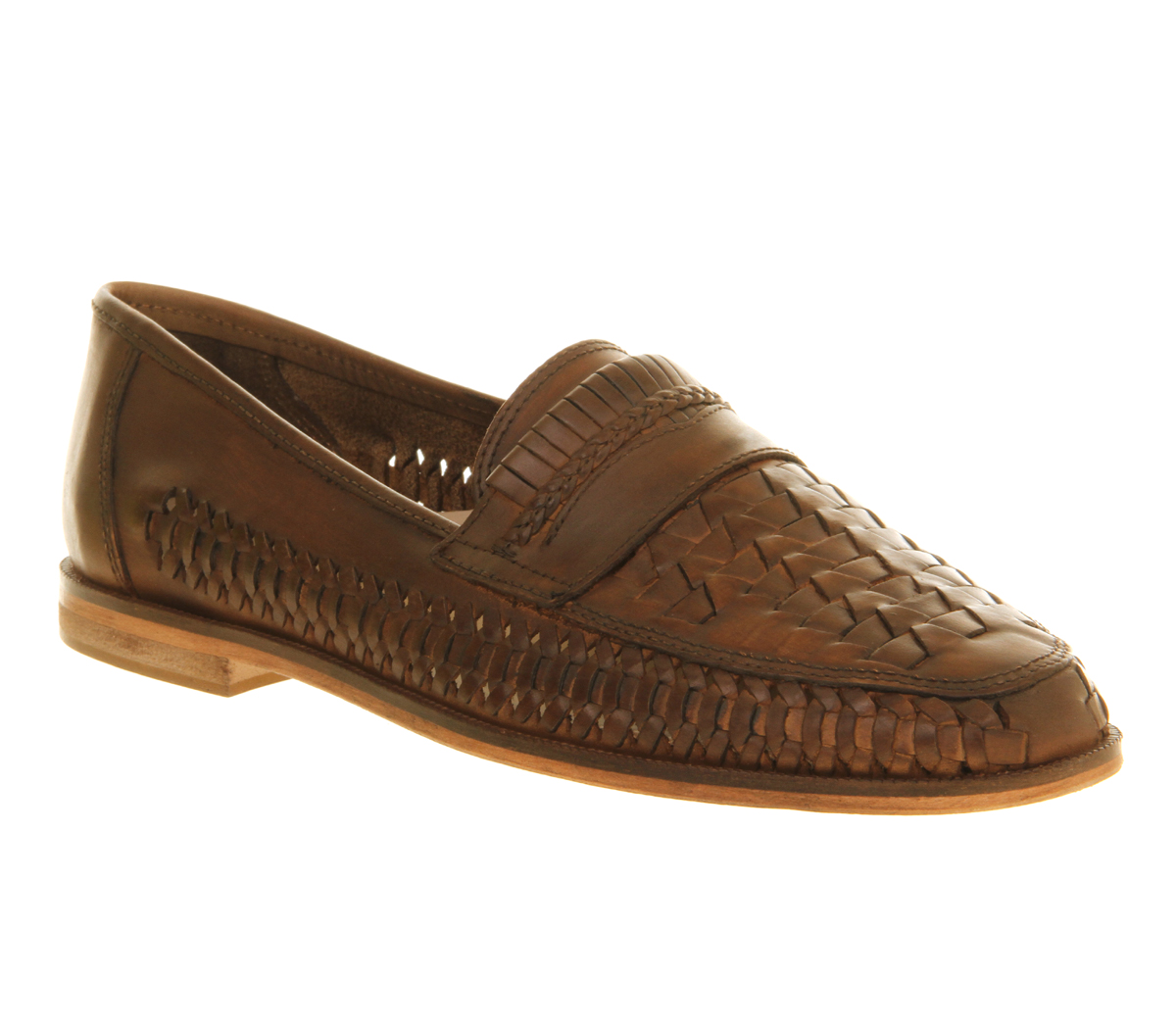 mens office stoke weave slip on washed leather casual