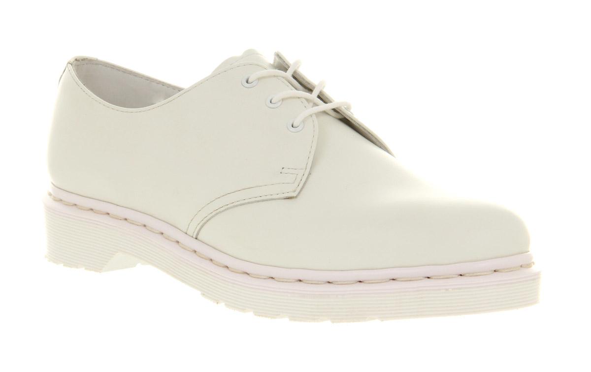 mens dr martens dm 3 eye mono shoe white leather formal
