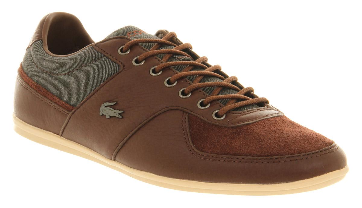 mens lacoste q2 taloire sneaker brown leather trainers