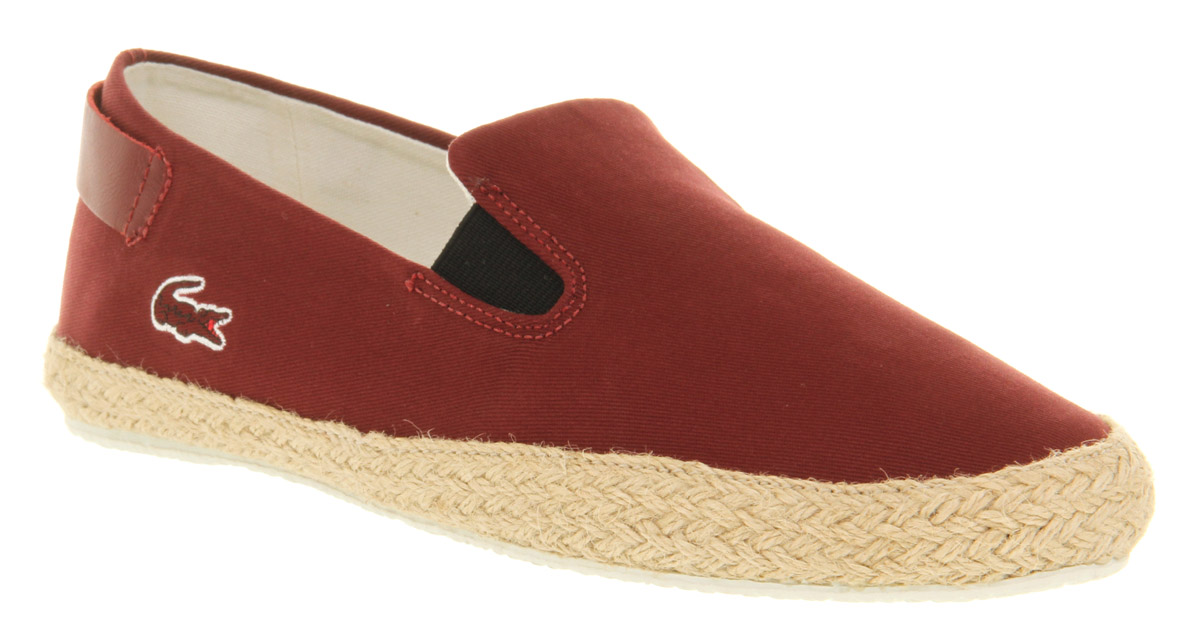 mens lacoste q2 slip on espa brown canvas casual shoes