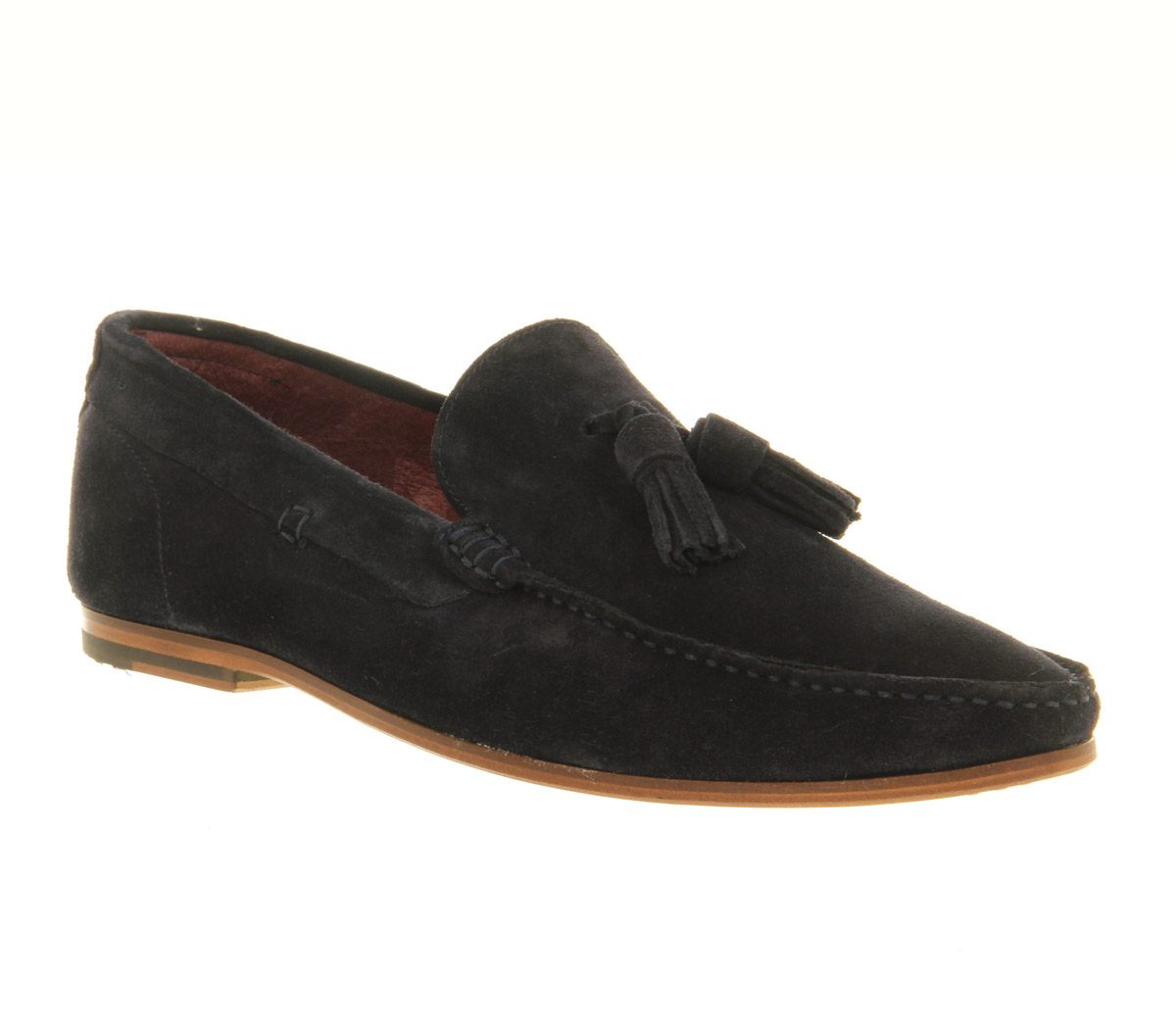 mens poste lorenzo tassle loafer navy suede formal shoes