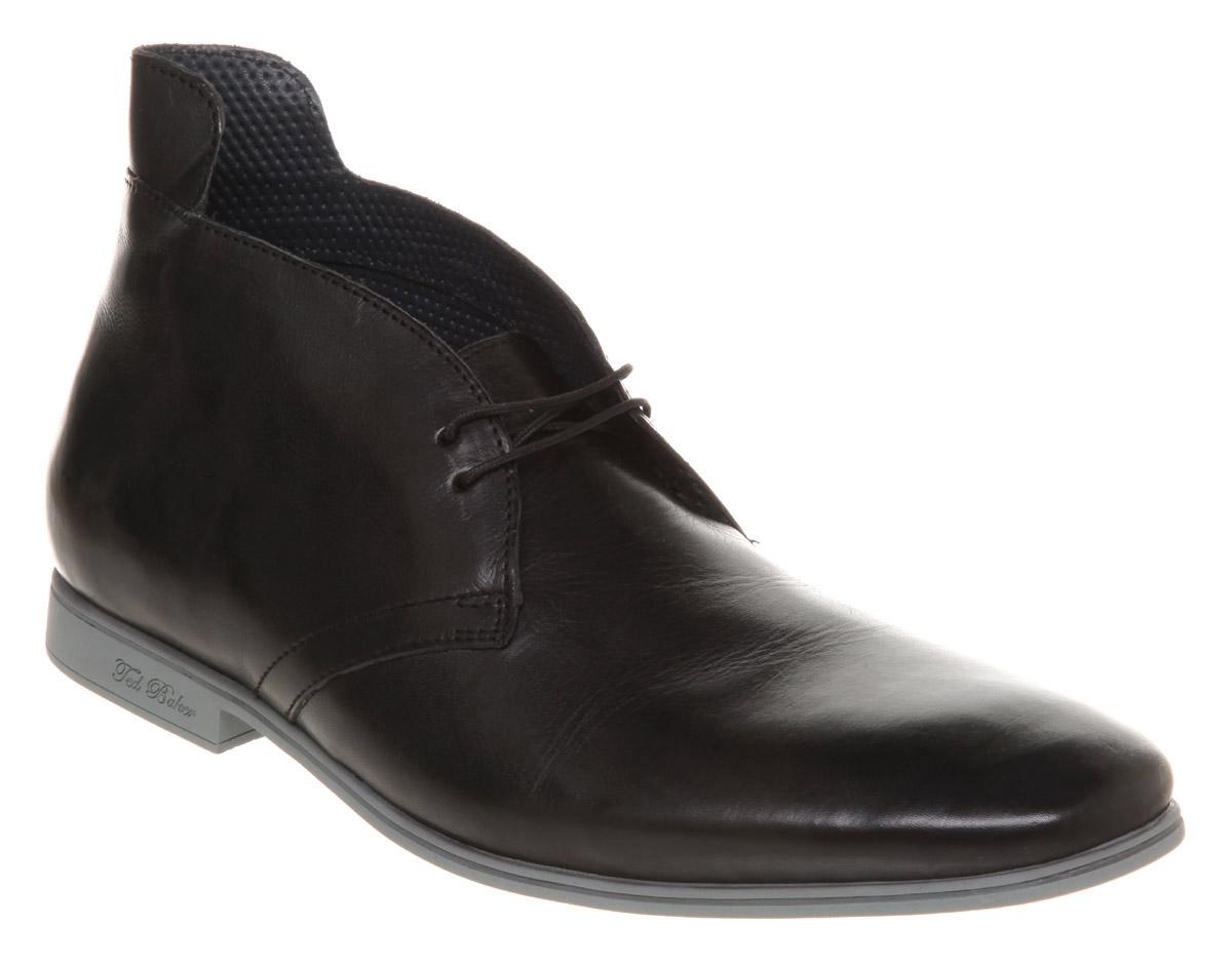 mens ted baker jolon casual chukka black leather boots
