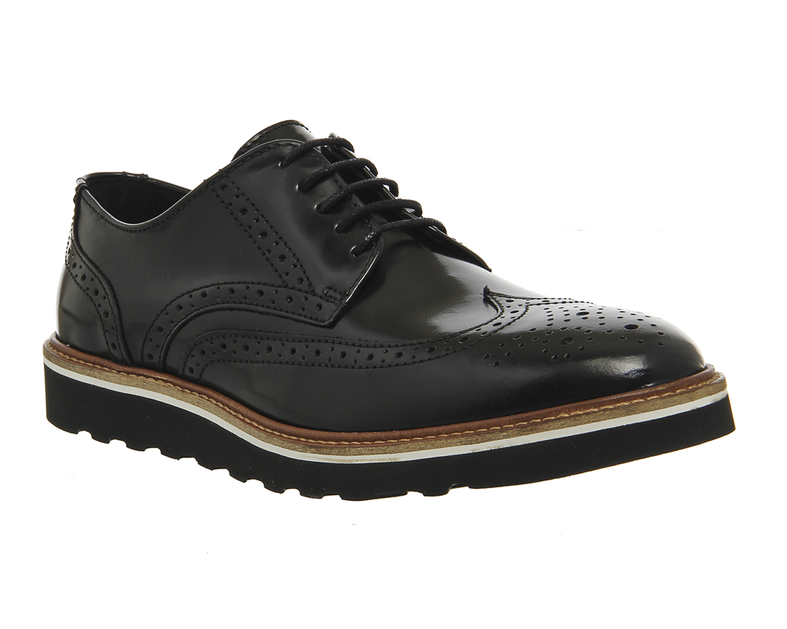 Mens Ask the Missus Coco Wedge Sole Brogues BLACK HI SHINE ...