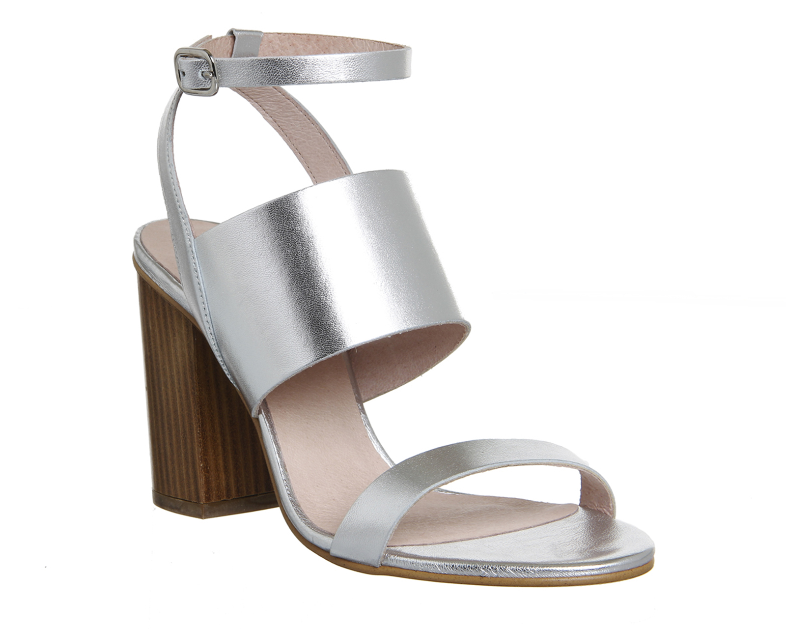 Womens Office Time 3 Strap Block Heel Sandals SILVER LEATHER WOOD