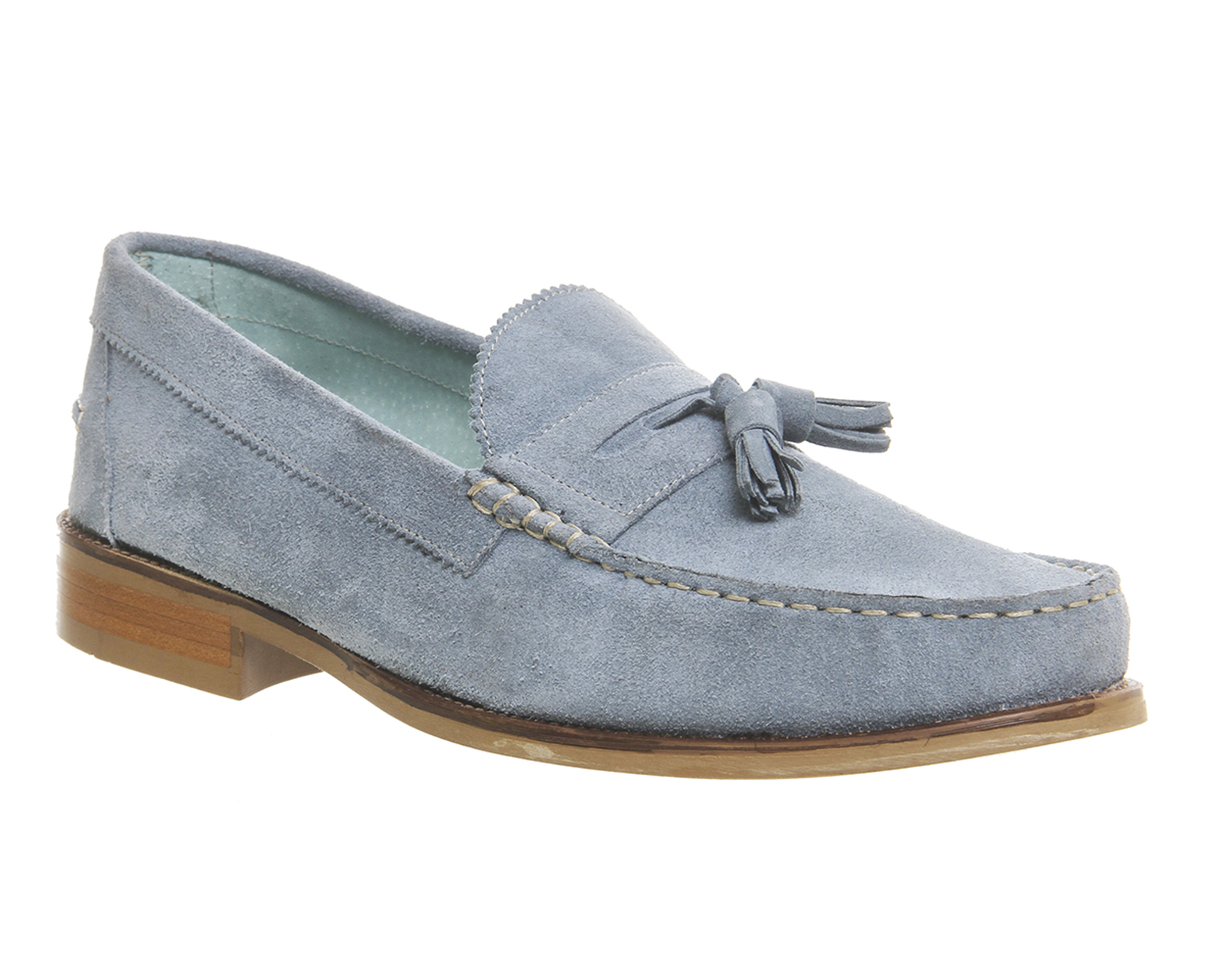 Mens Ask the Missus Bonjourno Tassel Loafers BABY BLUE SUEDE Casual Shoes