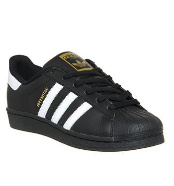 Adidas Superstar  BLACK WHITE FOUNDATION Trainers Shoes