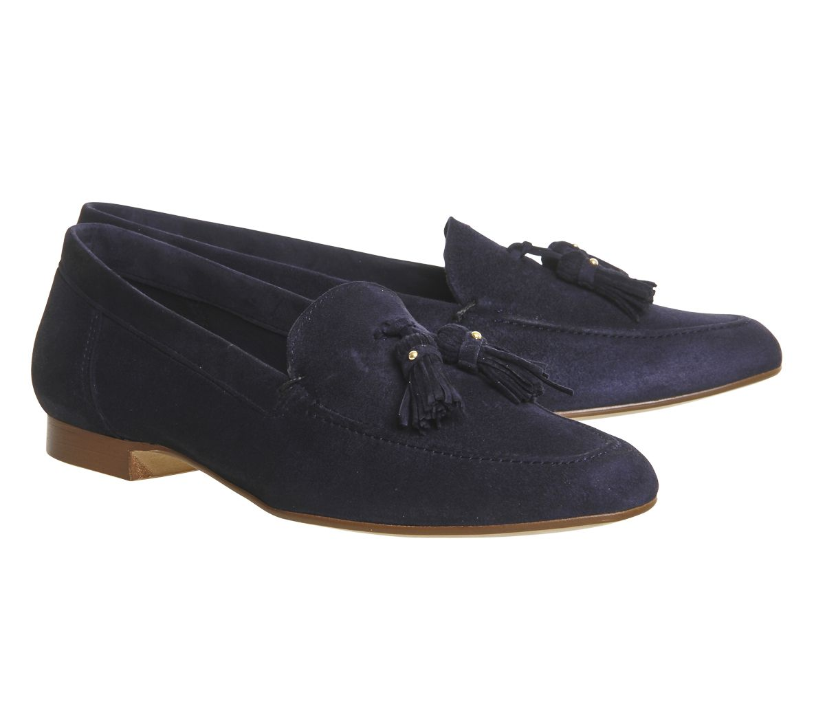 Womens Office Retro Tassel Loafers Navy Suede Flats