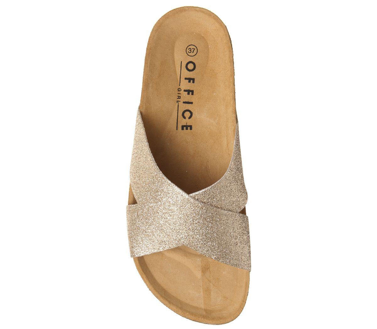 Womens Office Hoxton 2 Sandals Fine Rose Gold Glitter Sandals