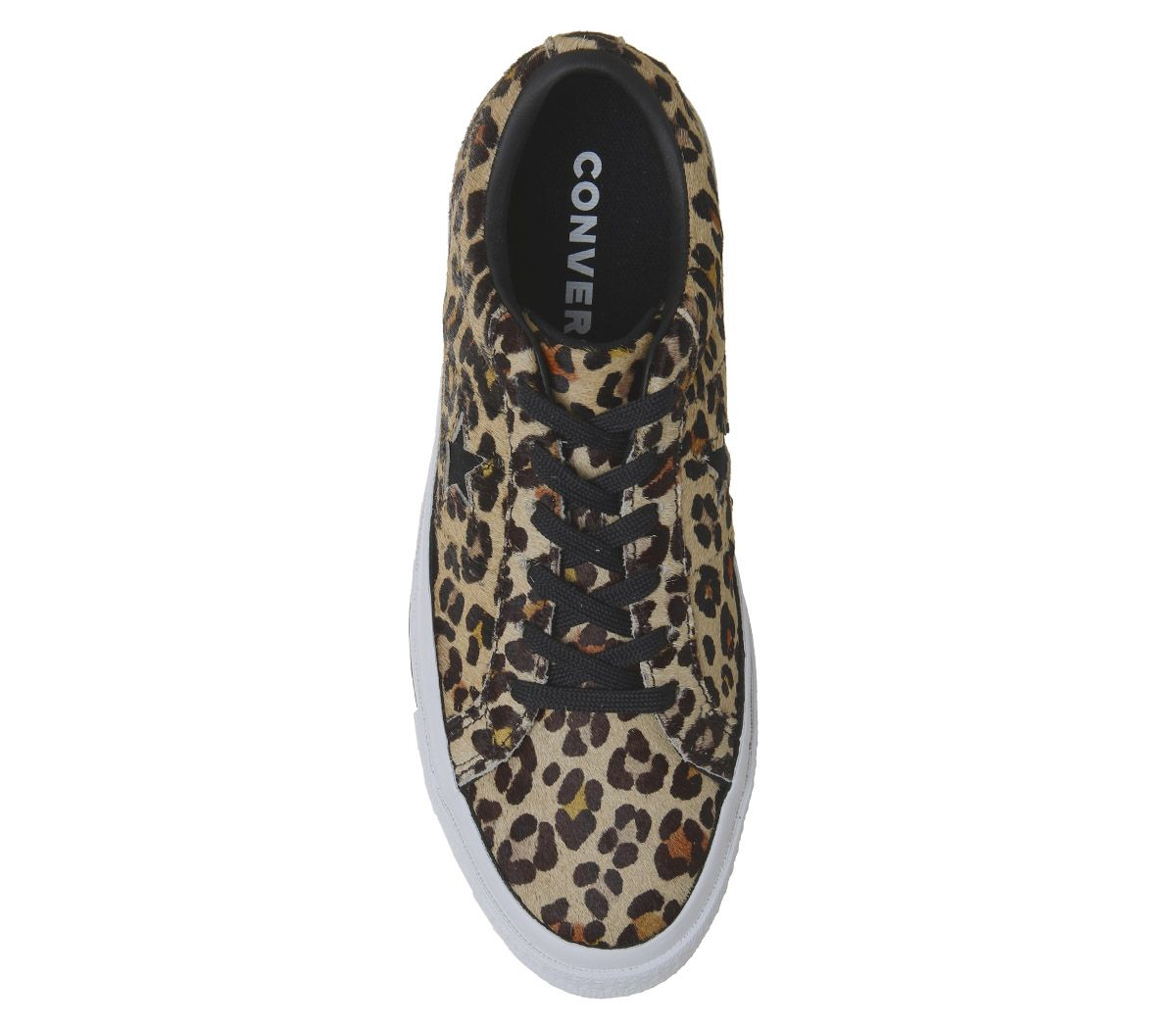 Womens Converse One Star Trainers Leopard Black White Trainers Shoes