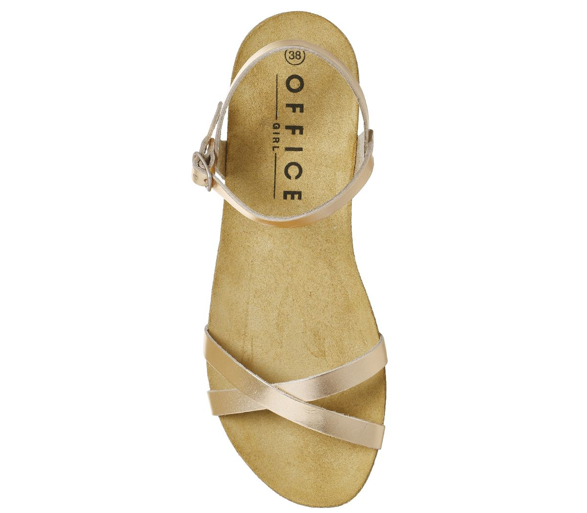 Womens Office Safari Cross Strap Footbed Sandals Rose Gold Leather Sandals