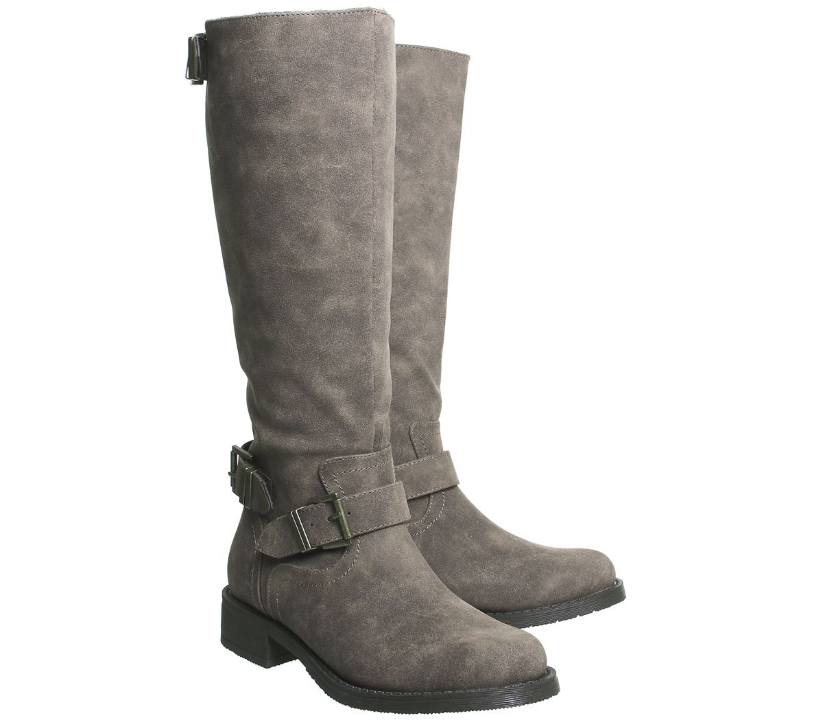 Womens Office Koala Buckle Biker Boots Brown Boots