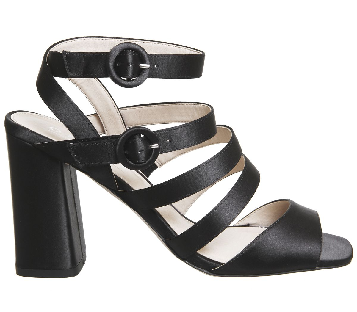 Womens Office Home Time Square Toe Strappy Block Heels Black Satin Heels