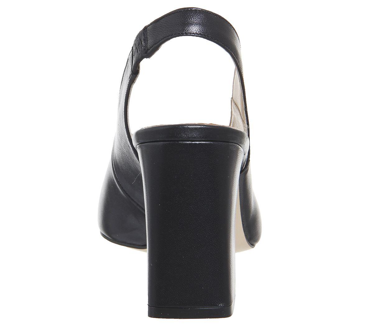 Damen Office Mimi Grob Gestrickt Slingback Absatz Schwarzes Leder Ferse
