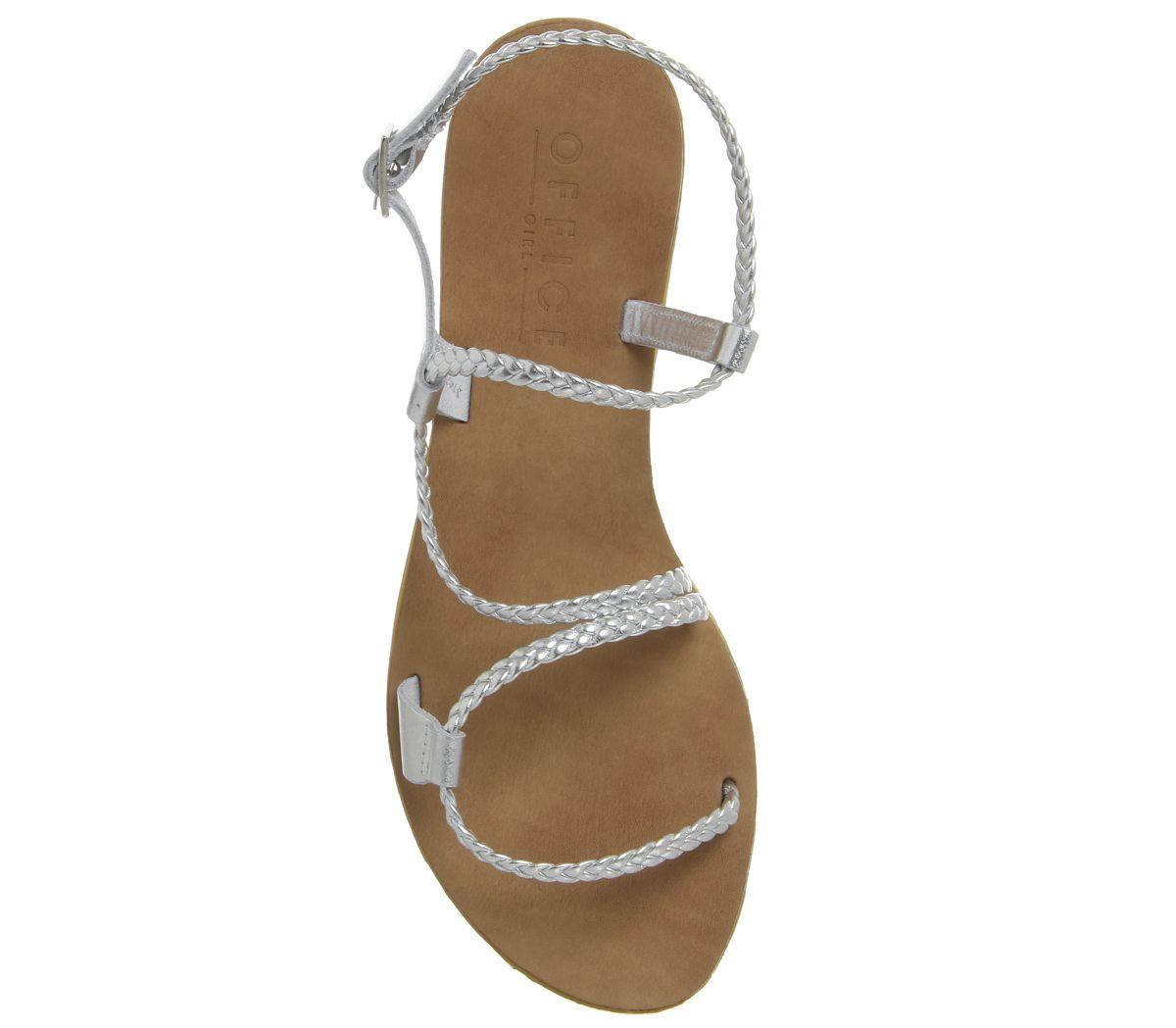 Womens Office Spritz Asymmetric Plait Sandals Silver Sandals