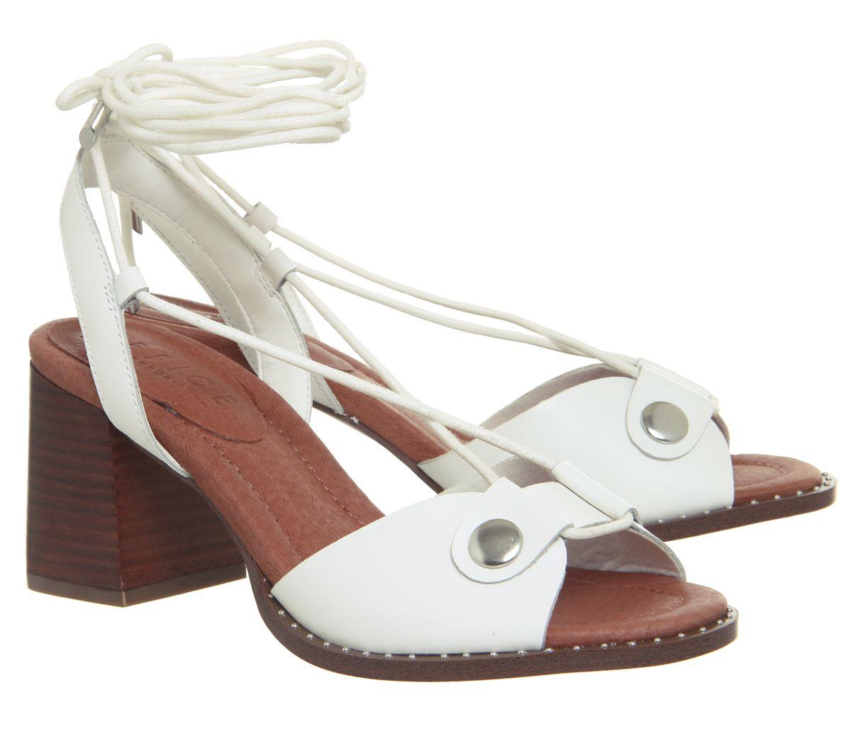 Womens Office Merry Ankle Tie Block Heels White Heels