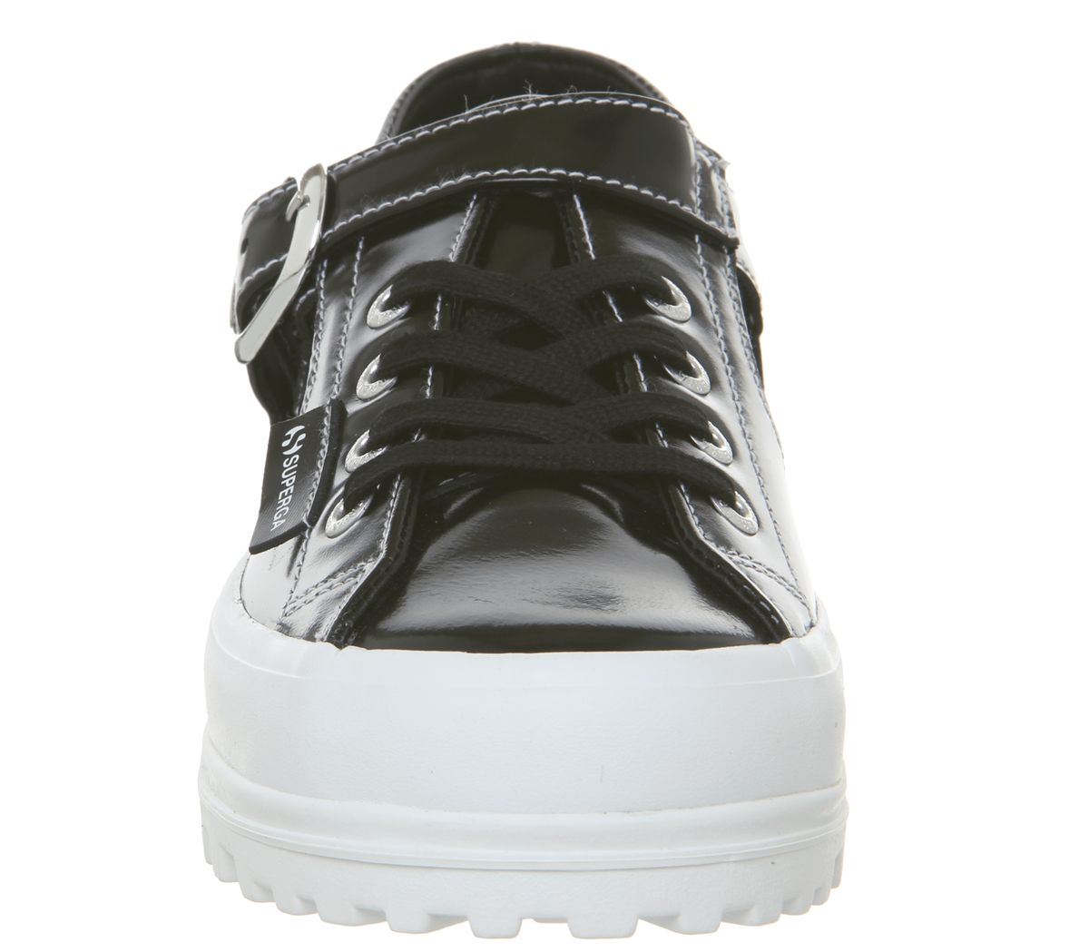 Womens Superga 2254 Trainers Alexa Chung Black Patent Trainers Shoes