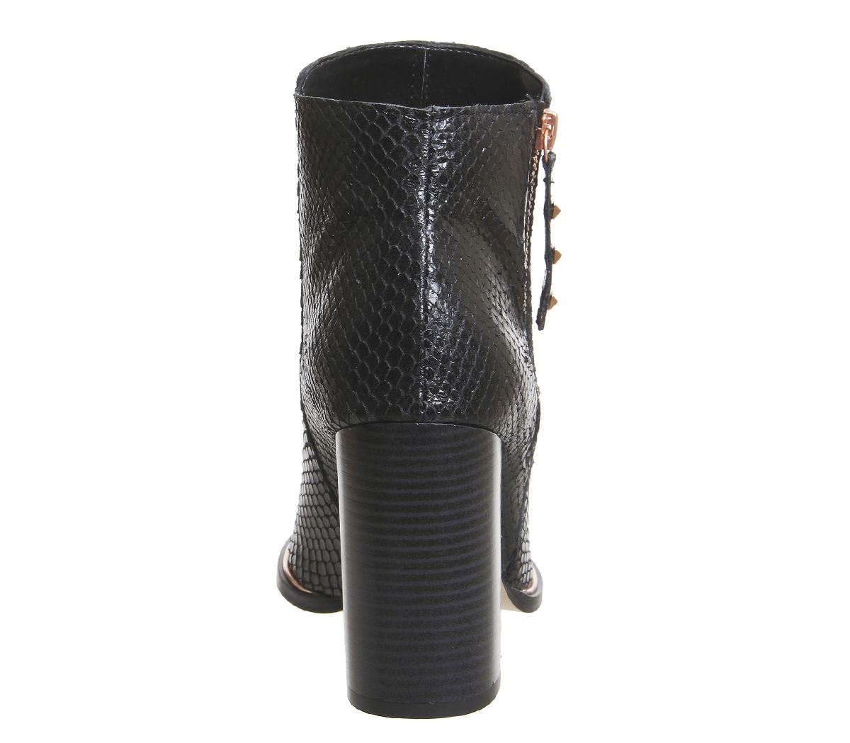 Womens Office Affluent Heel Side Zip Boots Black Snake Rose Gold Hardware Boots
