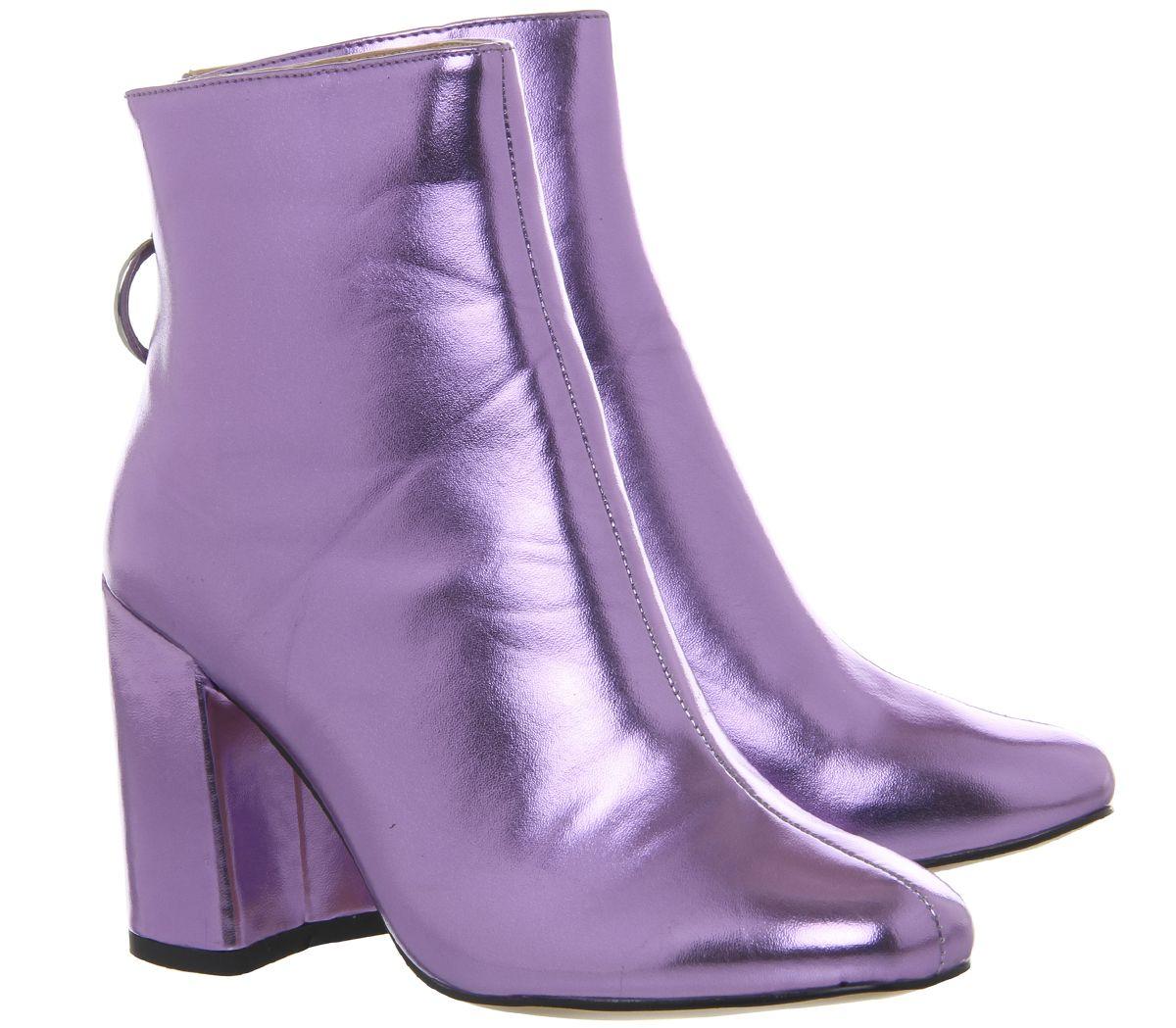 Womens Office Argon Block Heel Back Zip Boots Lilac Metallic Boots