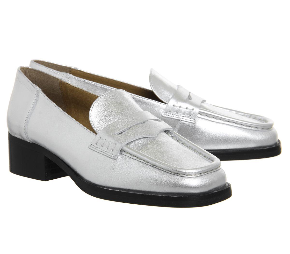 Da Donna Ufficio Fashion Show Square Punta Mocassini argento in pelle scarpe basse