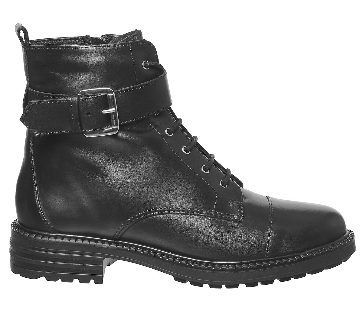 Womens Office Alpaca Buckle Lace Up Biker Boots Black With Furline Boots