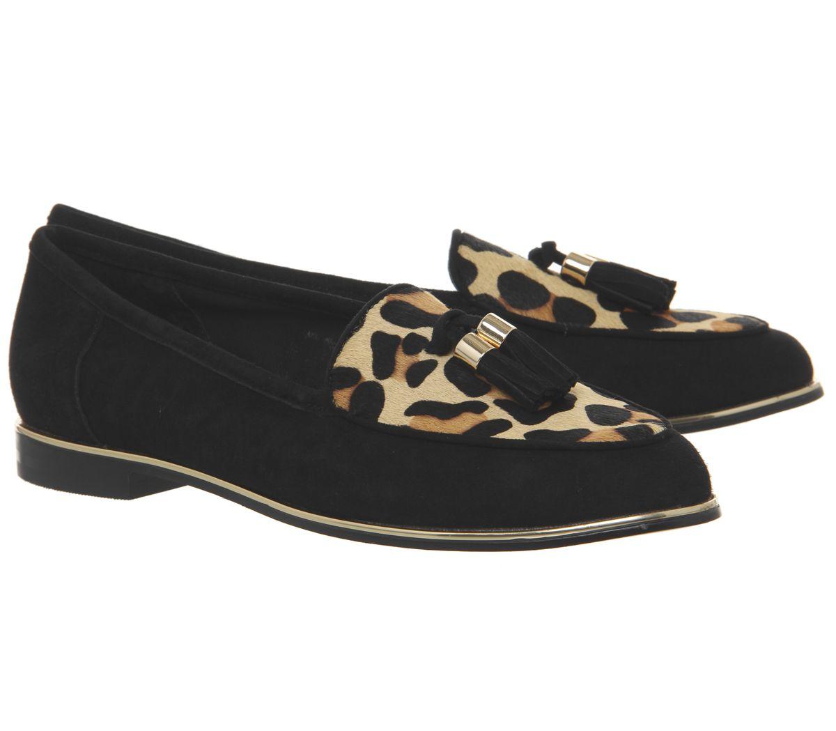 Womens Office Fallen Tassel Loafers Black Suede Leopard Effect Flats