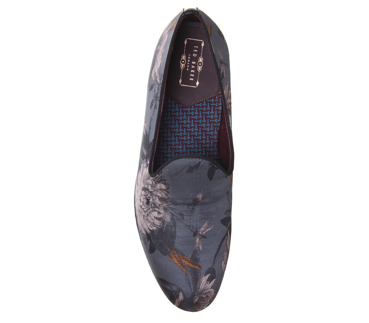 Mens Ted Baker Vihan Evening Slippers Grey Floral Formal Shoes