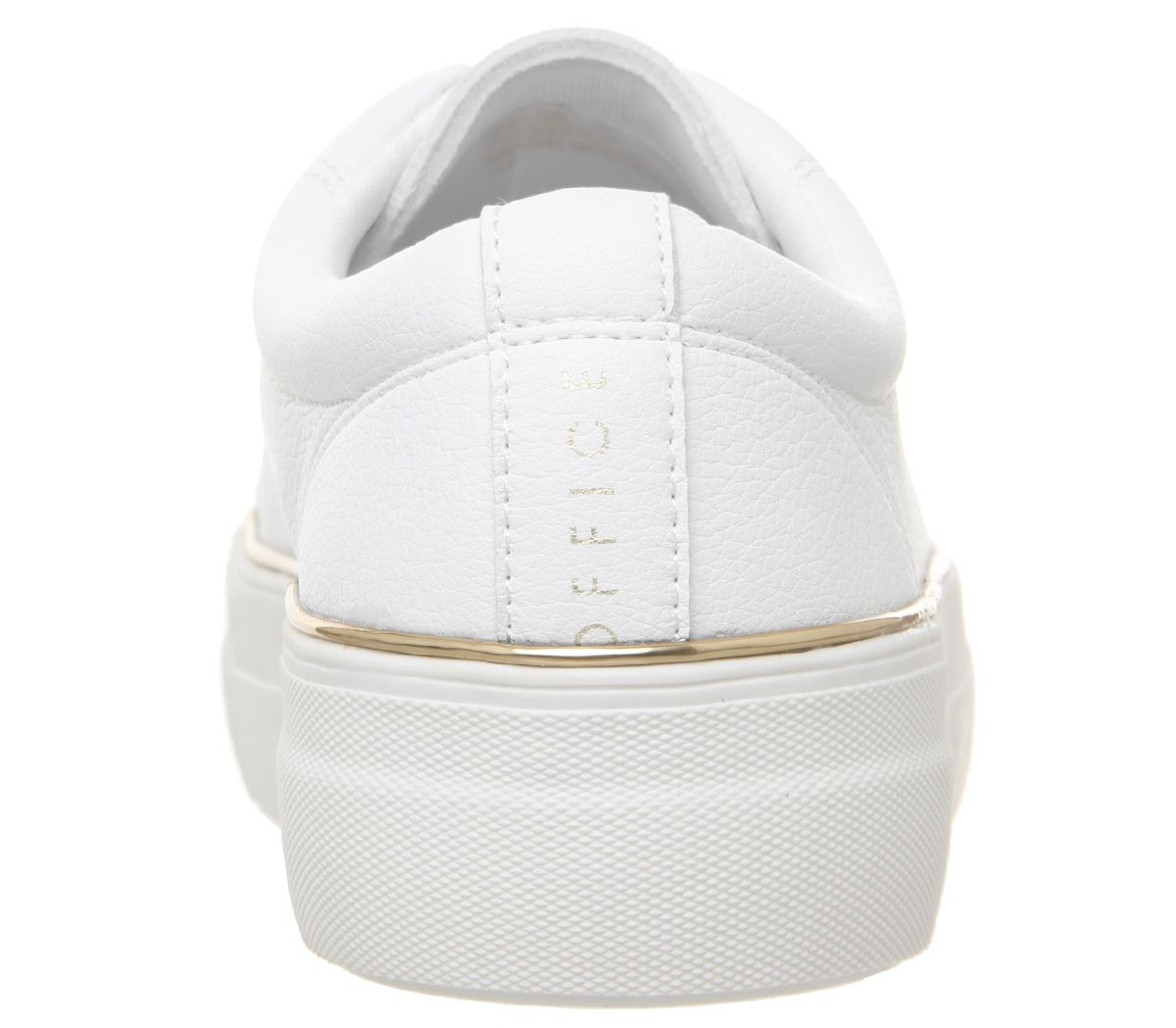 Womens Office Free Flatform Trainers White With Gold Rand Flats