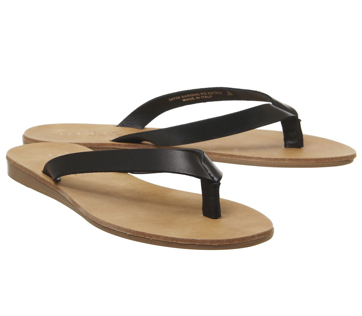 Womens Office Sarong Flip Flops Black Leather Sandals