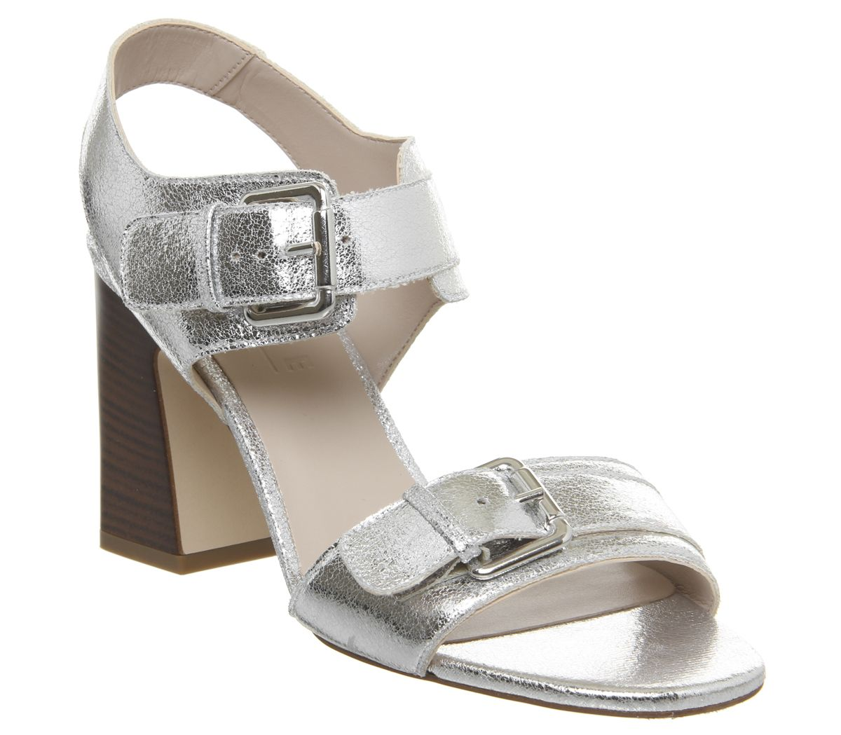 Womens Office Melanie Two Part Buckle Sandal Silver Crackled Leather Heels