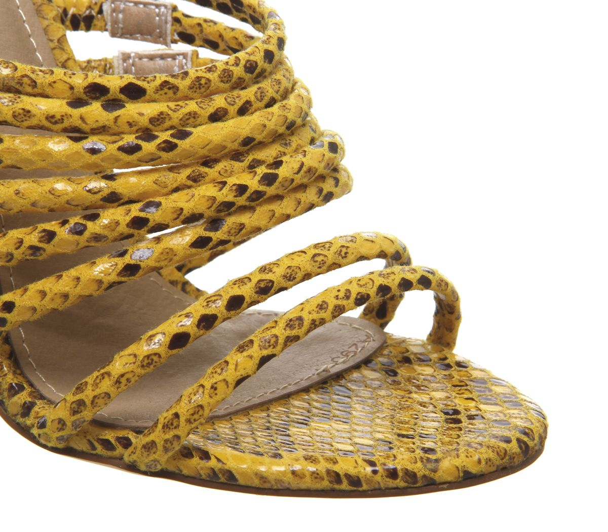 Womens Ego Saffiyah Mules Yellow Snake Heels