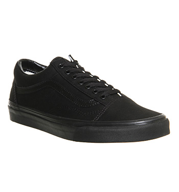 Mens-Vans-Old-Skool-Canvas-Trainers-BLACK-Trainers-Shoes