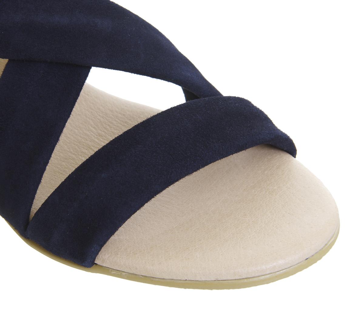 Womens Office Hallie Cross Strap Espadrilles Navy Suede Sandals