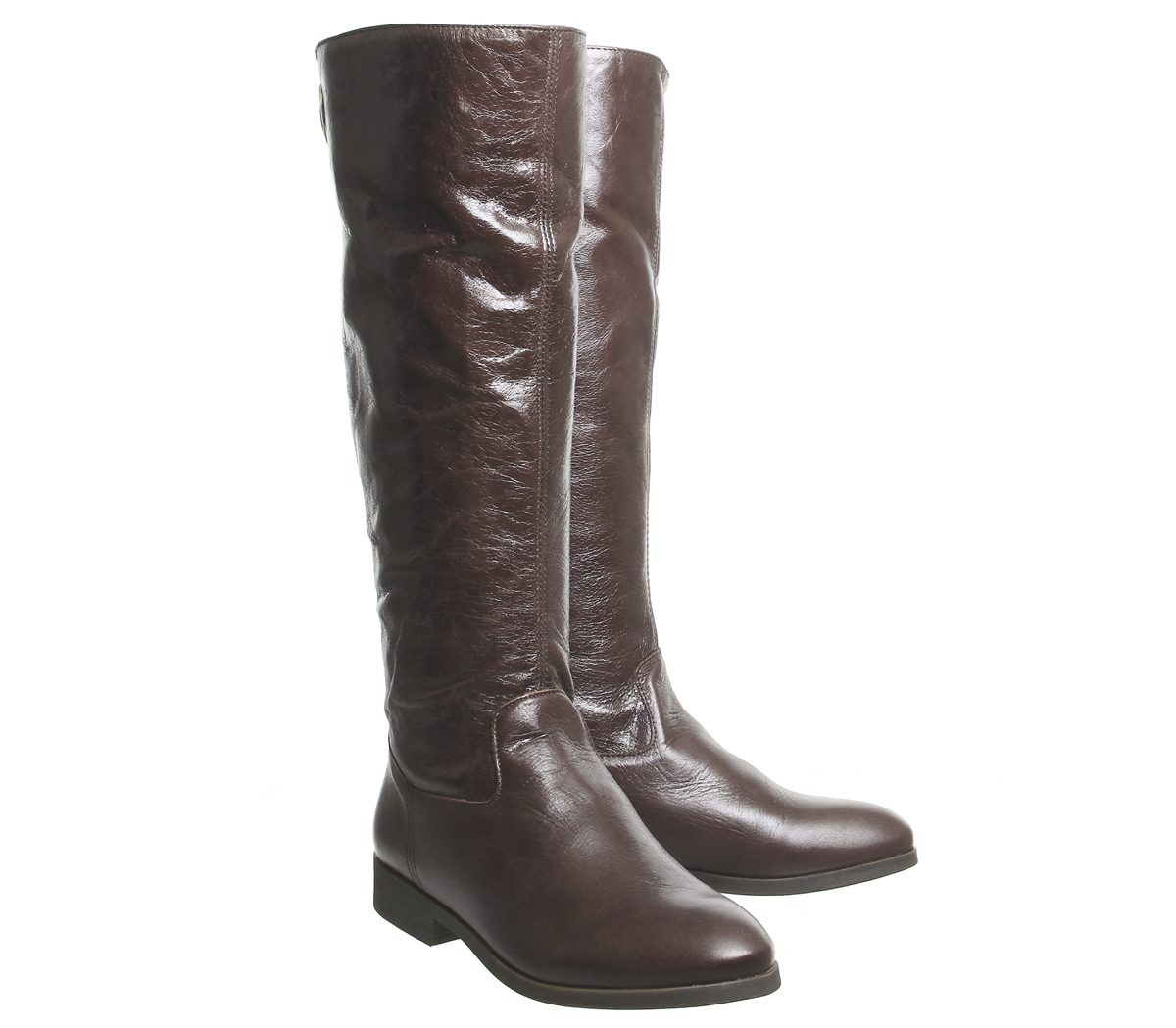 Womens Office Kayak Casual Back Zip Knee Boots Brown Leather Boots