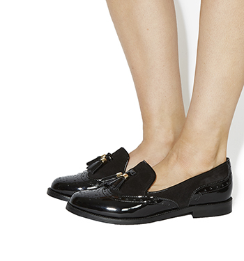 Womens Office Ringo Tel Loafers Black Patent Suede Flats Ebay