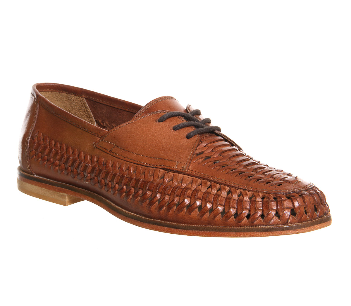 Mens Office Brixton Weave Lace Loafers TAN HI SHINE LEATHER Casual Shoes | EBay