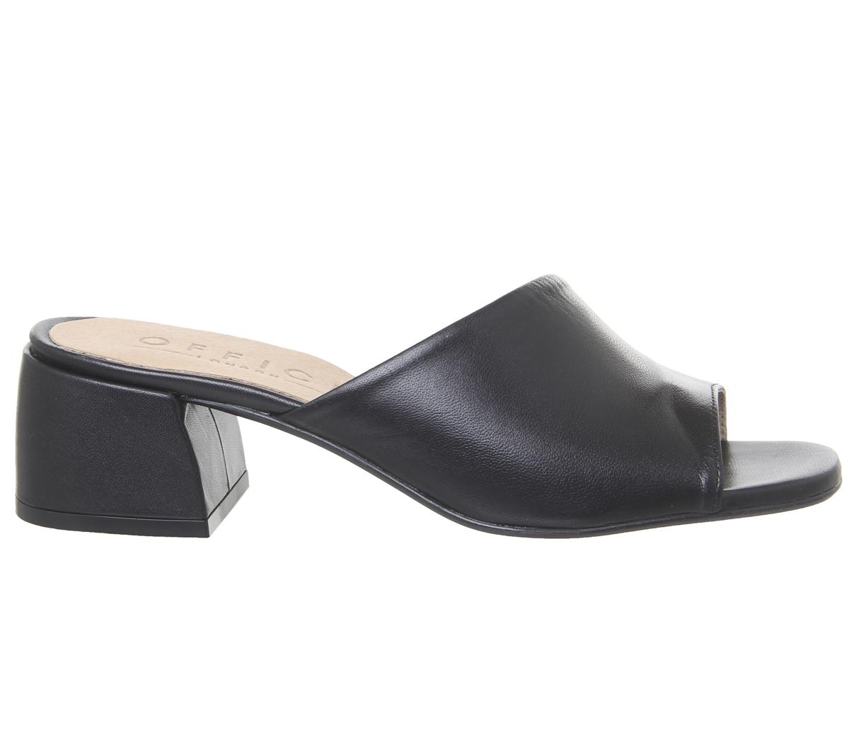 Womens Office Millionth Asymmetric Mules Black Leather Heels