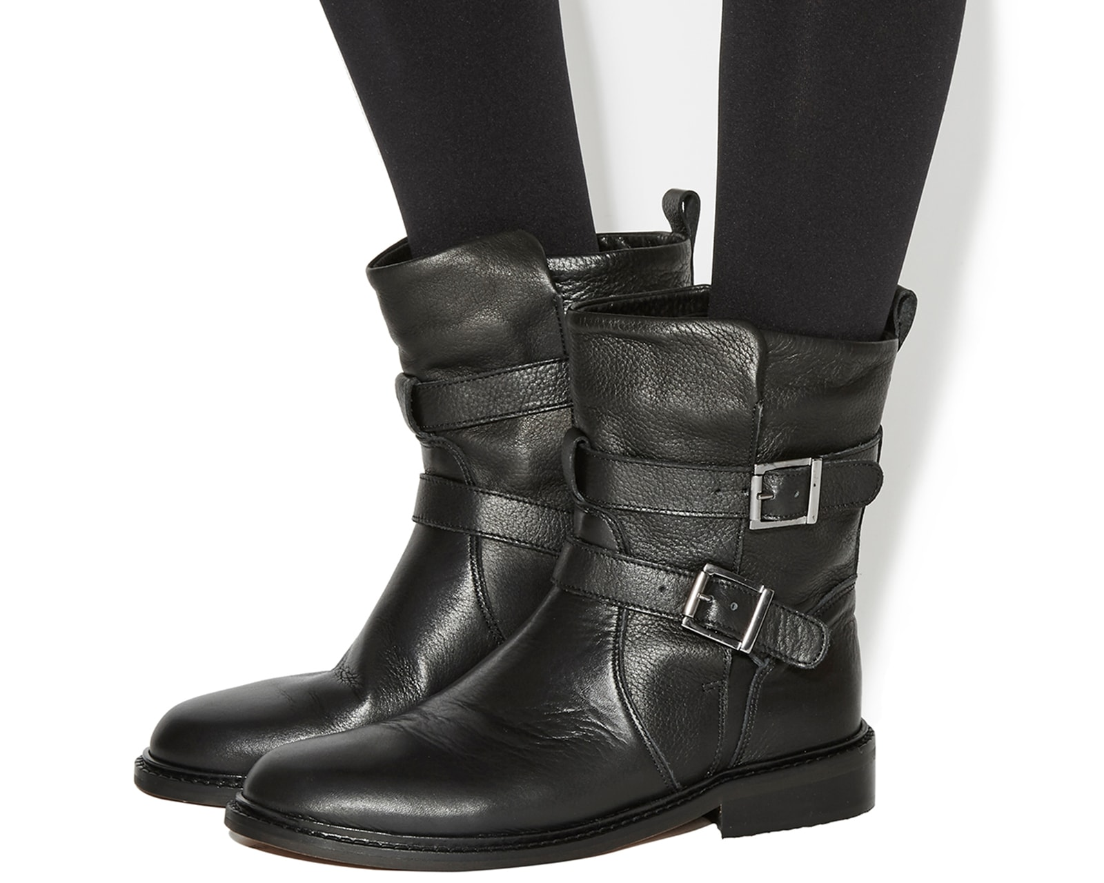 Amazing  Daniel  Daniel Esmeranda Womens Black Leather Biker Calf Boots