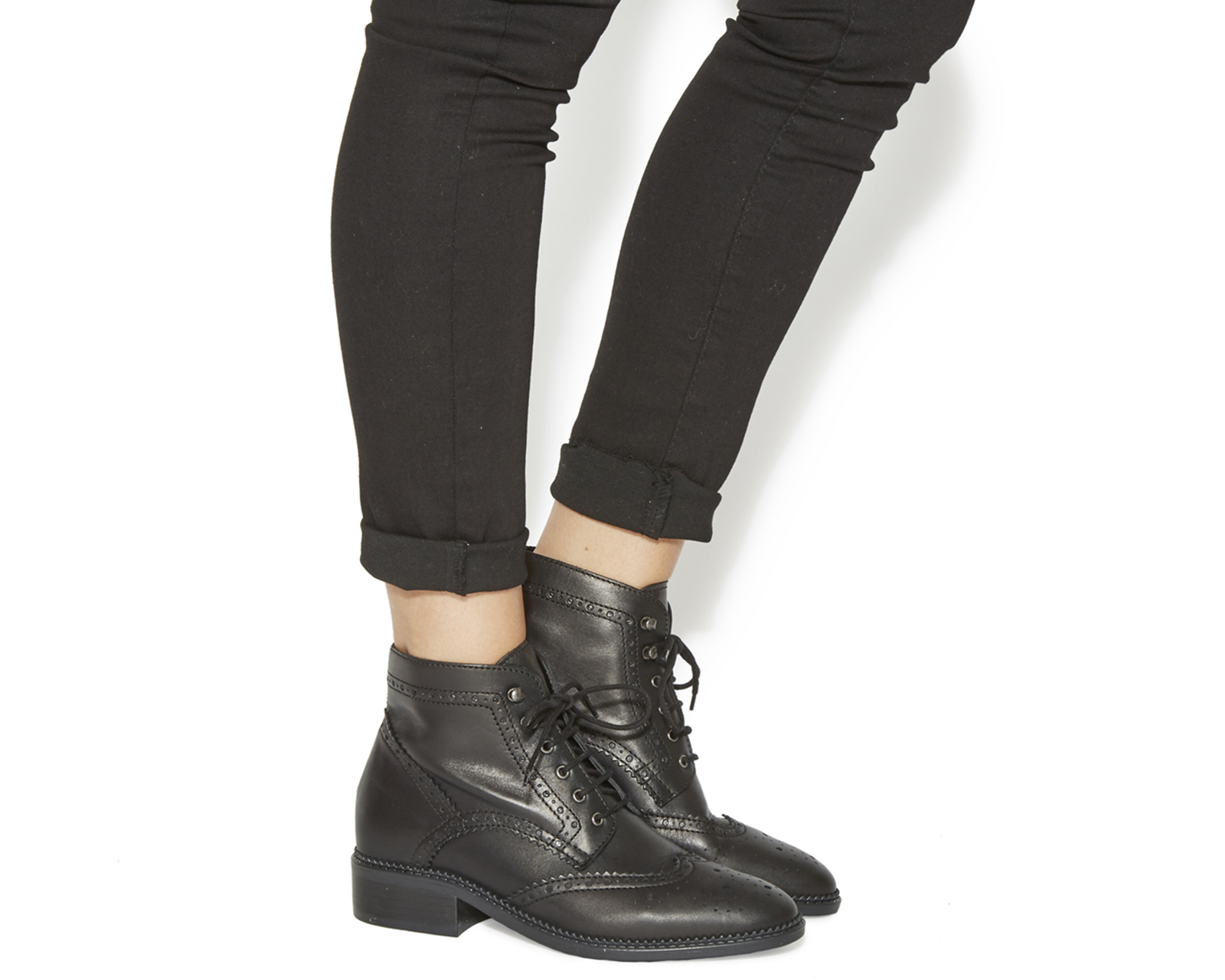 Womens Office Limerick Brogue Lace Up Boots Black Leather Ebay