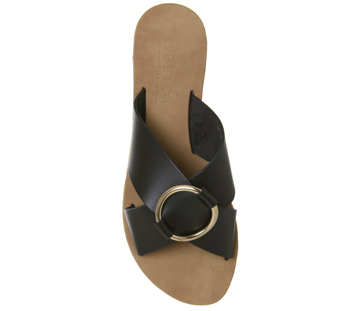 Womens Office Spirit Ring Detail Mule Sandals Black Leather Gold Ring Sandals