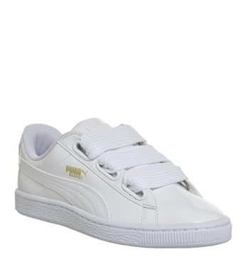 d23462a95b0 Puma-Basket-Heart-WHITE-PATENT-Trainers-Shoes thumbnail 3