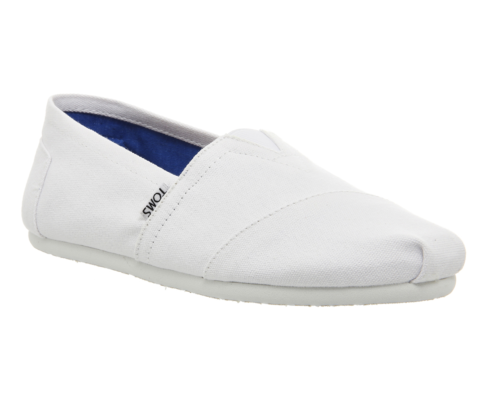 mens toms classic slip ons optical white canvas casual