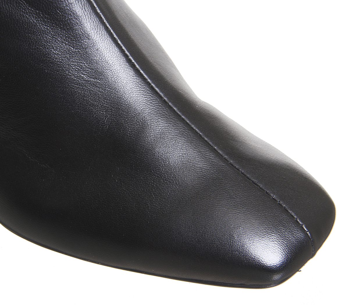 Womens Office Apricot Square Toe Block Heel Boots Black Leather Boots