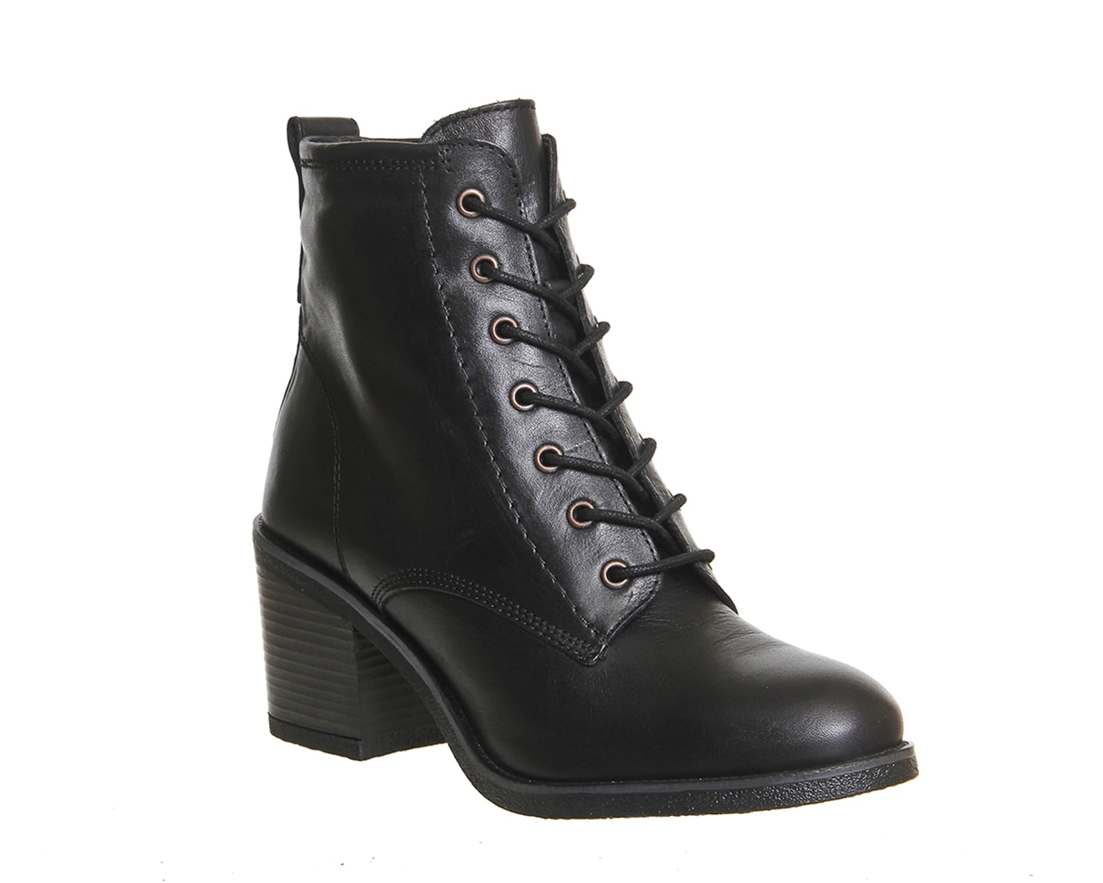 Womens Office Latch Mid Heel Lace Up Boots BLACK LEATHER Boots | eBay
