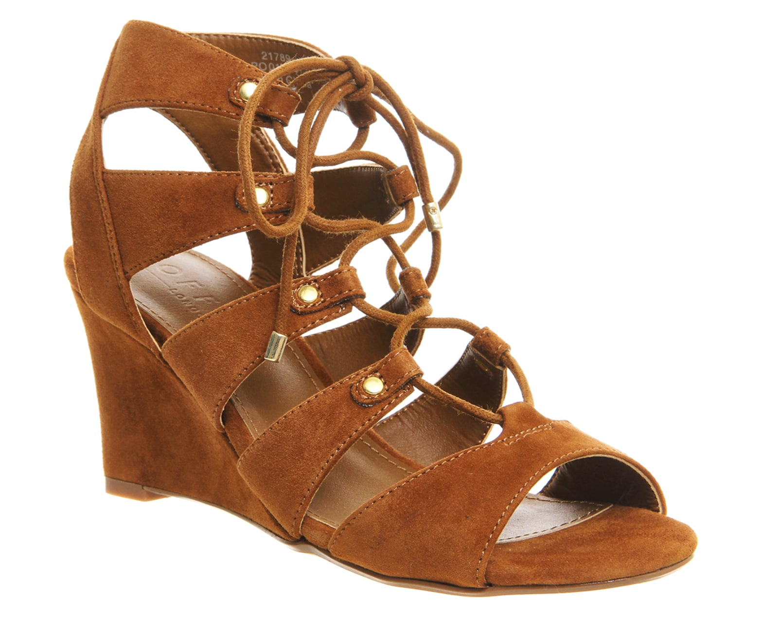 Womens Office Quartet Lace Up Wedges Tan Suede