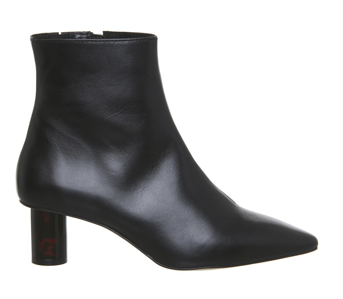 Womens Office Afflict Cylindrical Heel Boots Black Leather Tortoiseshell Heel Bo
