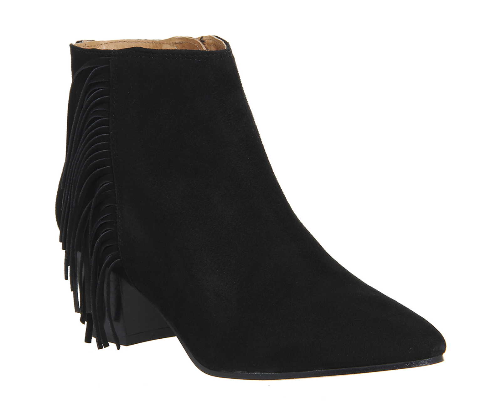 womens office idaho fringe boots black suede with black
