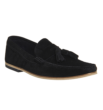 mens ask the missus approval loafers black suede formal shoes