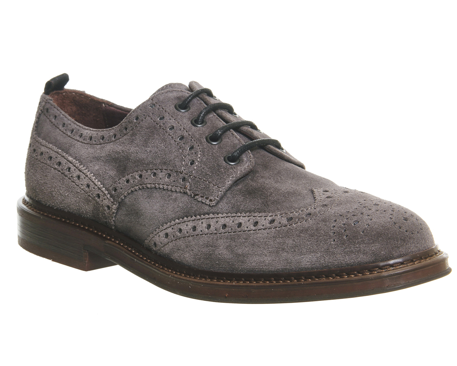 mens poste caeser brogues grey suede formal shoes ebay