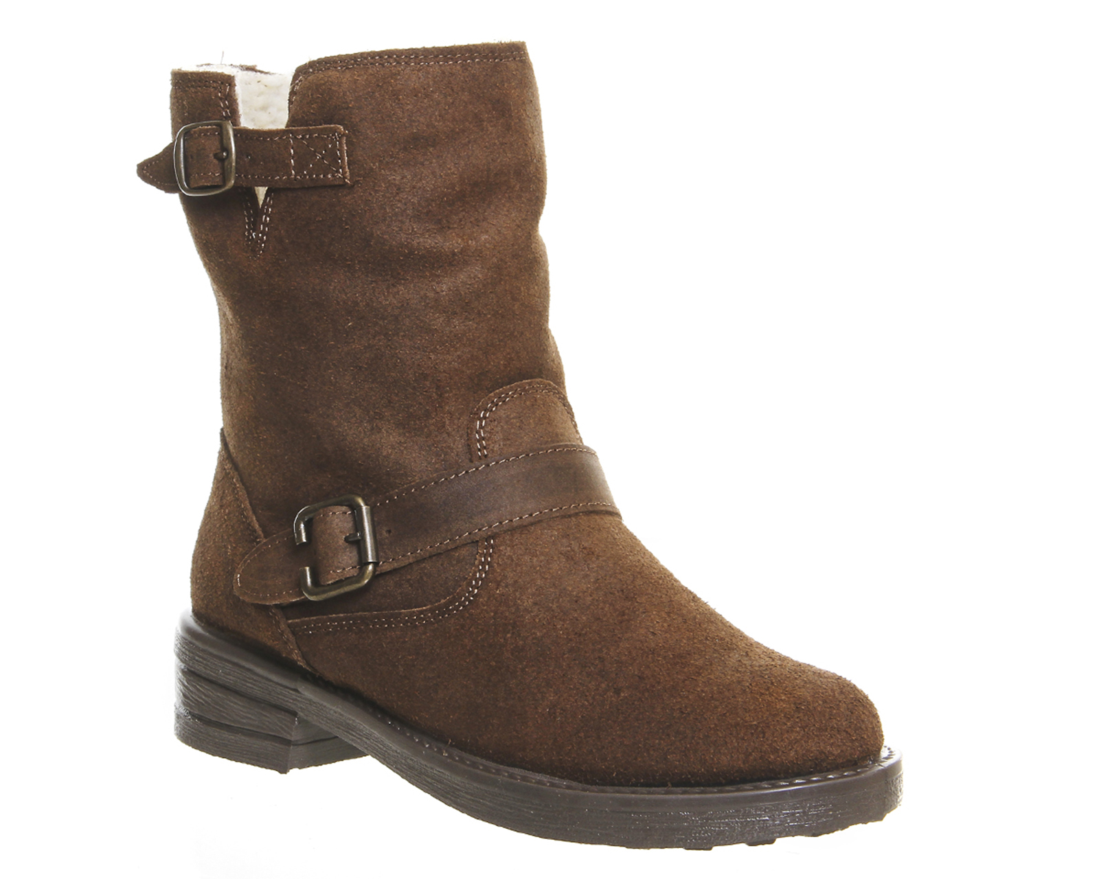 womens office igloo buckle biker boots brown suede boots